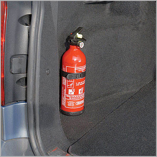 A Small fire extinguisher in the Car